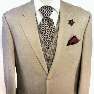 Oscar De La Renta Silk Wool Tan Sport Blazer 40L